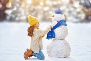 Kardan Adam ve Çocuk Fotoğraf Kanvas Tablo