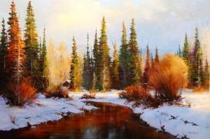 Karlarla Kaplı Çam Ormanı Doğa Manzarası Kanvas Tablo