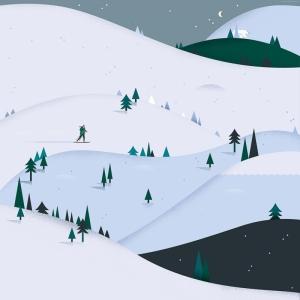 Karlı Dağlar Abstract Kanvas Tablo
