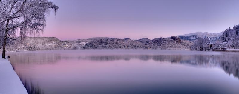 Karlı Göl Manzarası Panaromik Kanvas Tablo