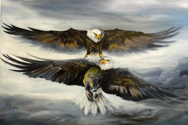 Kartal, Vahşi Kuşlar-3, Hayvanlar, Kuş Temalı Kanvas Tablo