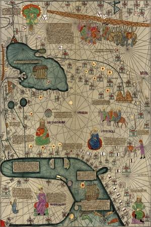 Katalan Atlası İspanyol Atlası 2 Eski Çizim Dünya Haritası Coğrafya Kanvas Tablo