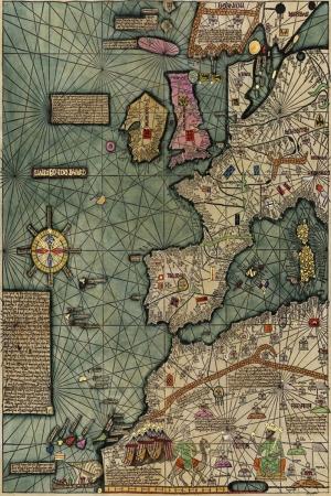 Katalan Atlası İspanyol Atlası 3 Eski Çizim Dünya Haritası Coğrafya Kanvas Tablo