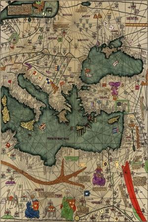Katalan Atlası İspanyol Atlası Eski Çizim Dünya Haritası Coğrafya Kanvas Tablo