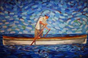 Kayıkçı Sandal Yağlı Boya Sanat Kanvas Tablo