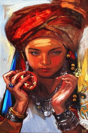 Kazak Kızı, Türk Dünyası Modern Sanat Kanvas Tablo