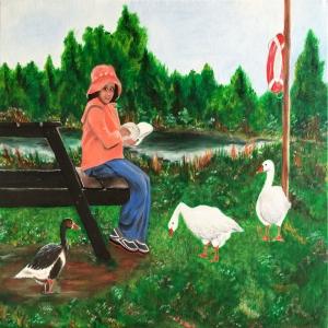 Kazların Dostluğu, Hayvanlar Alemi Dekoratif Kanvas Tablo