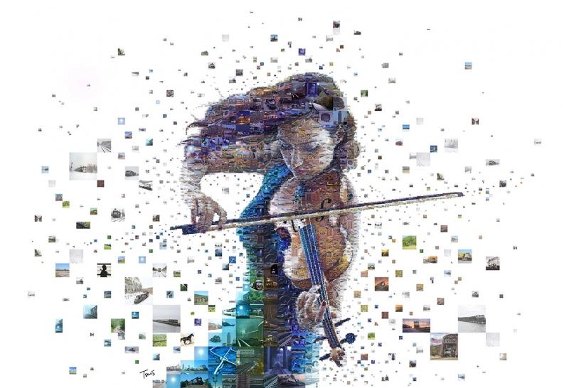 Kemancı Kız Abstract Kanvas Tablo