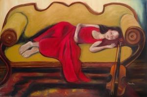 Kemanci Kiz Ruyalar Aleminde Yagli Boya Sanat Kanvas Tablo