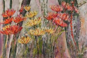 Kırmızı Çiçekler 1 Dalya Çiçeği Yağlı Boya Floral Sanat Kanvas Tablo