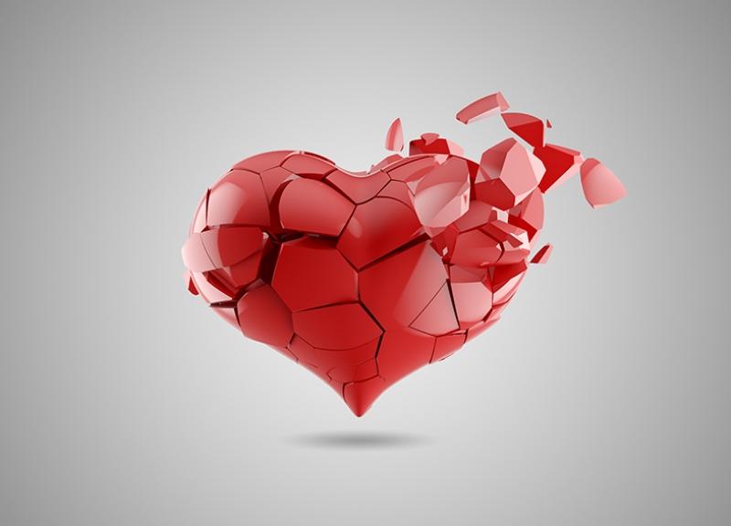 Kırık Kırmızı Kalp 3d Aşk & Sevgi Kanvas Tablo