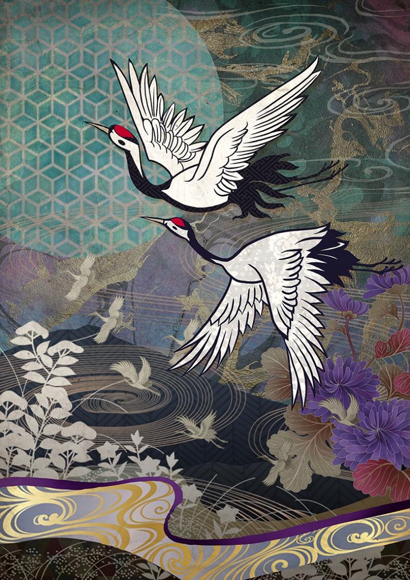 Kırlangıç Dansı Japon Sanatı Yağlı Boya Sanat Kanvas Tablo
