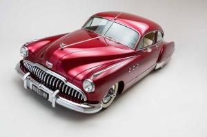 Kirmizi 1949 Model Buick Klasik Otomobiller 1 Eski Amerikan Klasik Arabalar Kanvas Tablo