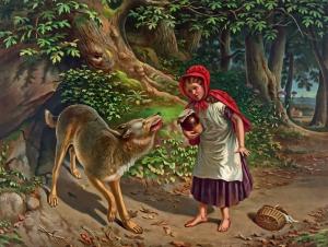 Kırmızı Başlıklı Kız ve Kurt Sanat Kanvas Tablo