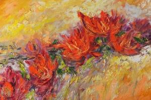 Kırmızı Çiçekler 1  Yağlı Boya Sanat Kanvas Tablo