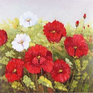 Kırmızı Çiçekler 2 Dekoratif Kanvas Tablo