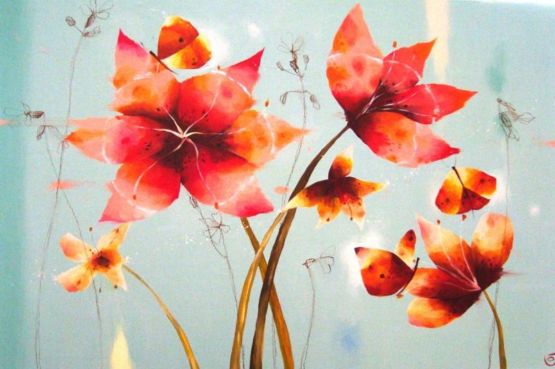 Kırmızı Çiçekler 2  Yağlı Boya Sanat Kanvas Tablo