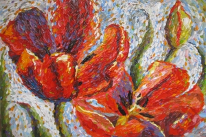 Kırmızı Çiçekler 4 Laleler Yağlı Boya Floral Sanat Kanvas Tablo