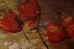 Kırmızı Çiçekler 5 Gelincik Yağlı Boya Floral Sanat Kanvas Tablo