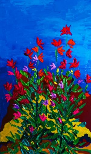 Kırmızı Çiçekler Mavi Dünya Yağlı Boya Sanat Kanvas Tablo