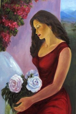Kırmızı Elbiseli Zarif Bayan Portre Kanvas Tablo