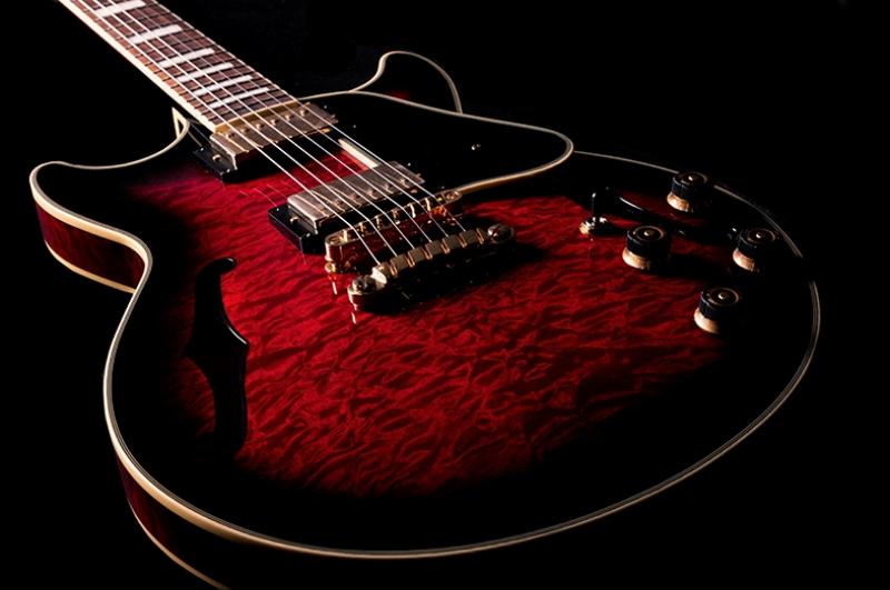 Kırmızı Gitar Müzik Kanvas Tablo