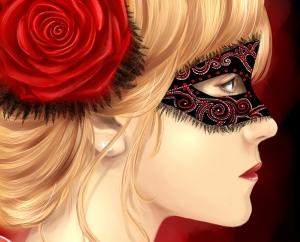 Kırmızı Gül ve Kadın Yağlı Boya Sanat Kanvas Tablo