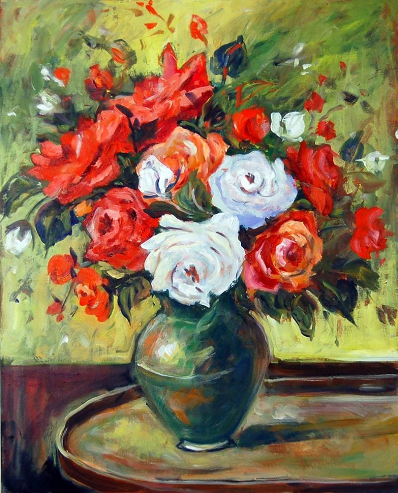 Kırmızı ve Beyaz Güller Floral Yağlı Boya Sanat Kanvas Tablo