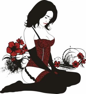 Kırmızılı Kadın Popüler Kültür Kanvas Tablo