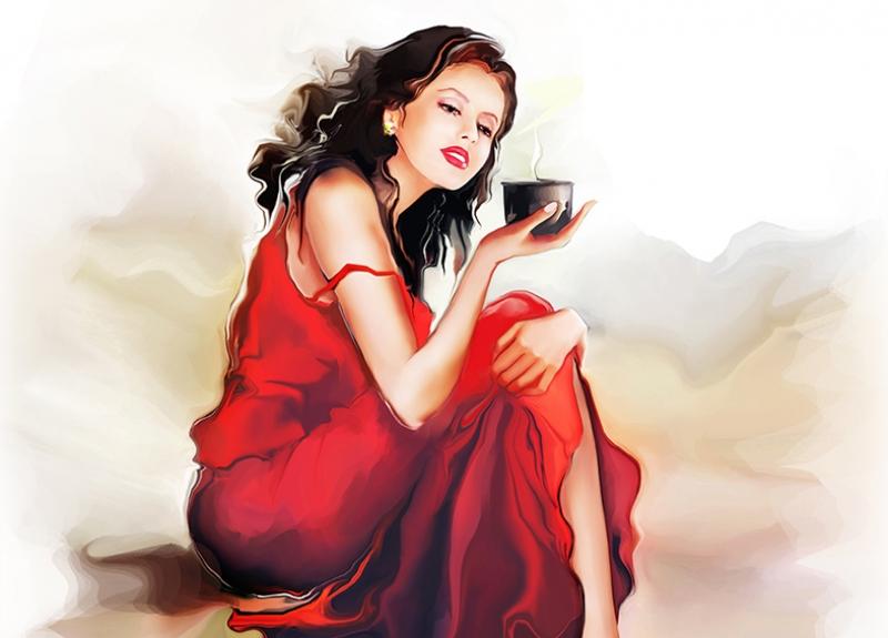 Kırmızılı Kadın Yağlı Boya Sanat Kanvas Tablo