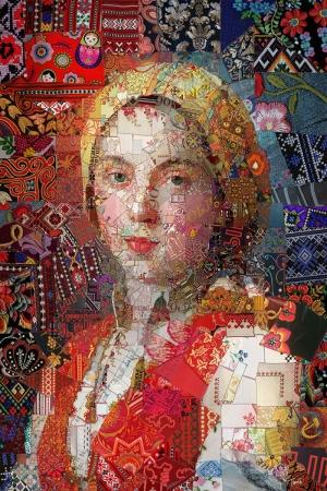 Kırmızılı Rus Kadın Mozaik İllustrasyon Kanvas Tablo