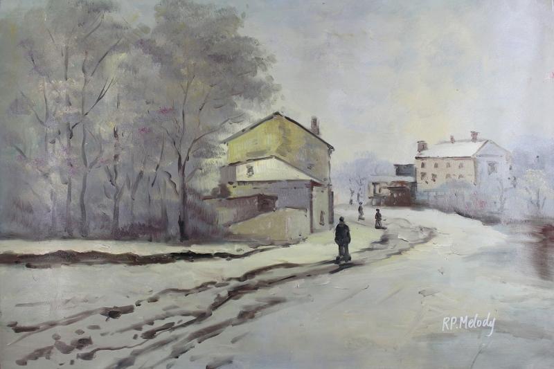 Kış Manzarası 1 Karlar Yağlı Boya Sanat Kanvas Tablo