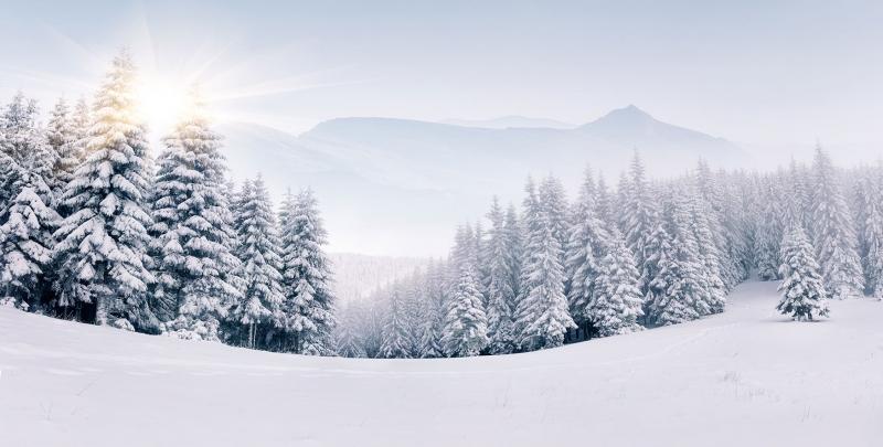 Kış Manzarası Karla Kaplı Dağlar Dağ Evi 2 Doğa Manzaraları Kanvas Tablo