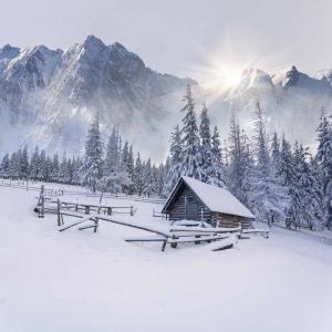 Kış Manzarası Karlı Dağlar Dağ Evi Doğa Manzaraları Kanvas Tablo