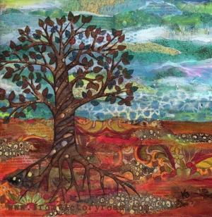 Kış renkleri, Köklerini Salmış Ağaç Dekoratif Kanvas Tablo