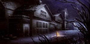 Kışın Akşam Manzarası, Karanlık Sokaklar Dijital Fantastik Kanvas Tablo