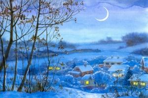 Kışın Köy Manzarası Modern Sanat Kanvas Tablo