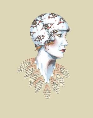 Kitap Yakalı Retro Kadın Retro & Motto Kanvas Tablo