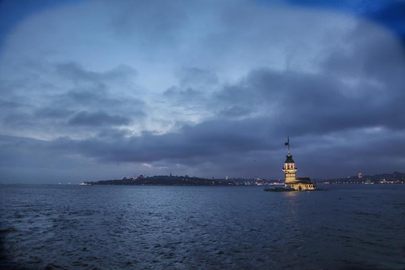Kız Kulesi 3 Akşam Dünyaca Ünlü Şehirler Kanvas Tablo