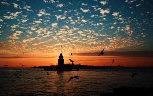 Kız Kulesi 8 Gün Batımı Dünyaca Ünlü Şehirler Kanvas Tablo