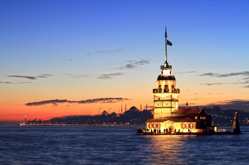 Kız Kulesi 9 Gece Dünyaca Ünlü Şehirler Kanvas Tablo