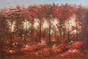 Kızıl Ağaçlar Orman Sanat Kanvas Tablo