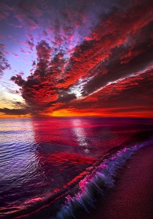 Kızıl Bulutlar Doğa Manzaraları Kanvas Tablo