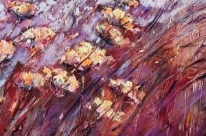 Kızıl Çiçekler 1 Yağlı Boya Sanat Floral Kanvas Tablo