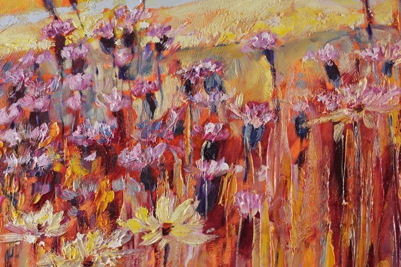 Kızıl Çiçekler 2 Yağlı Boya Sanat Floral Kanvas Tablo