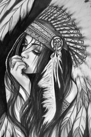 Kızıl Derili Kadınlar Amerikan Yerlileri-1 Modern Sanat Kanvas Tablo