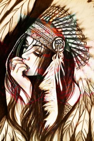 Kızıl Derili Kadınlar Amerikan Yerlileri-1a Modern Sanat Kanvas Tablo