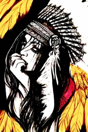 Kızıl Derili Kadınlar Amerikan Yerlileri-1b Modern Sanat Kanvas Tablo