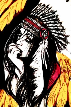 Kızıl Derili Kadınlar Amerikan Yerlileri-1c Modern Sanat Kanvas Tablo