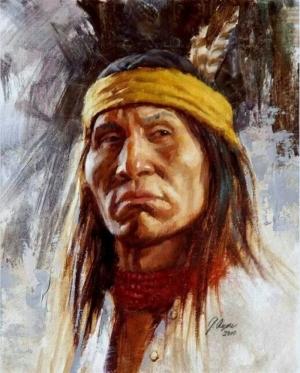 Kızıl Derililer Amerikan Yerlileri-12 Modern Sanat Kanvas Tablo
